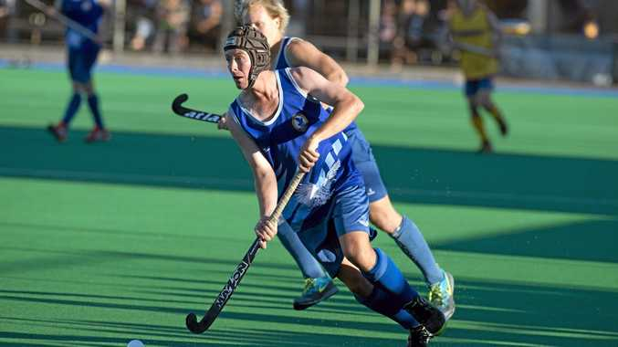 Toowoomba's Lachlan Brownhalls against Townsville in their Queensland open men's hockey championships final clash at Clyde Park, Monday, April 27, 2015. Photo Kevin Farmer / The Chronicle