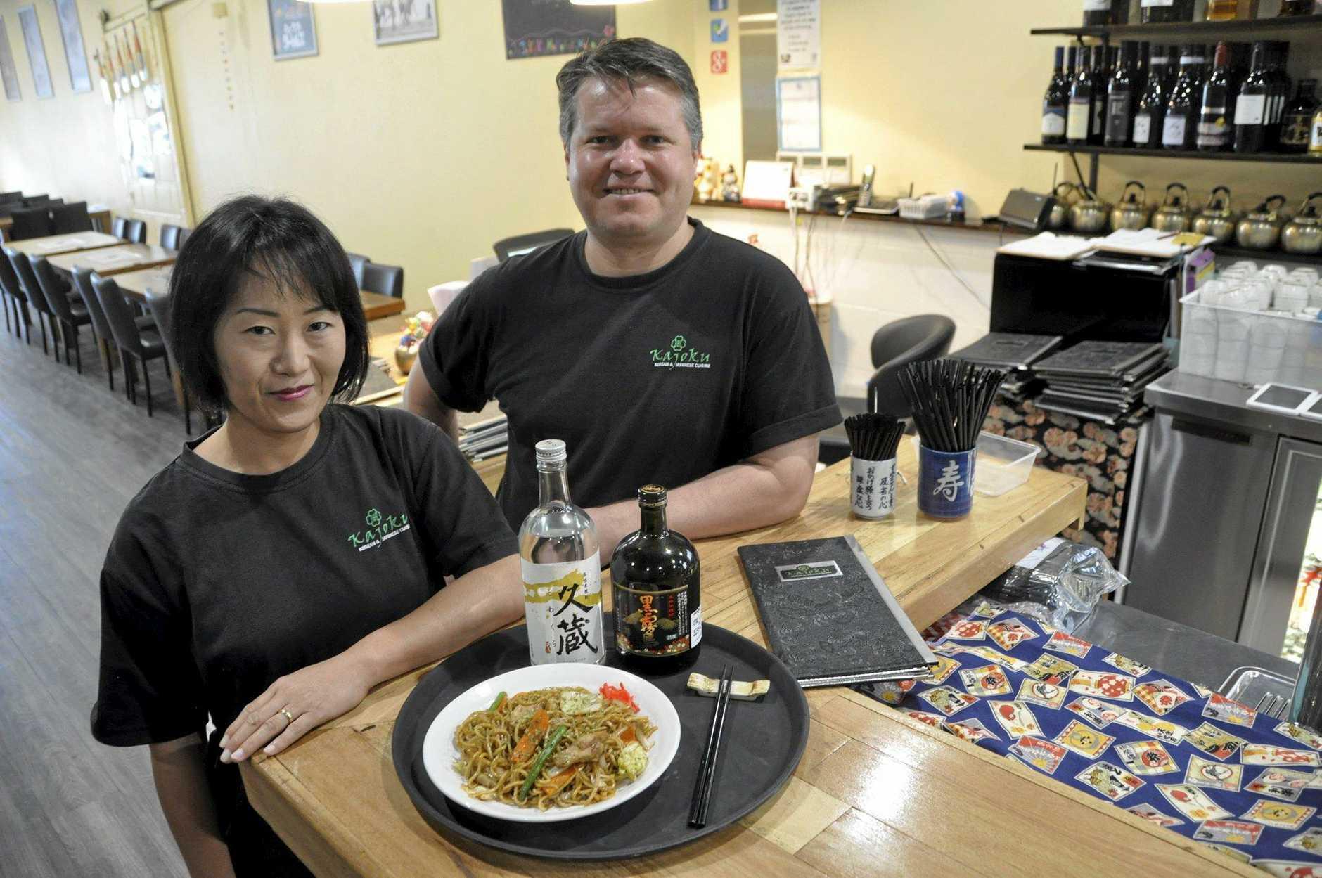 Kajoku's Mitsuko Bain (left) and Jeff Brady with a Yaki Soba dish.