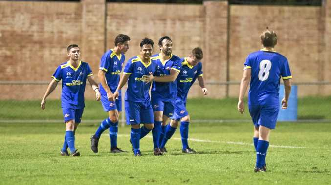 HAPPY HOME: South-West Thunder players celebrate a goal during a National Premier Leagues Queensland game earlier this season at Clive Berghofer Stadium.