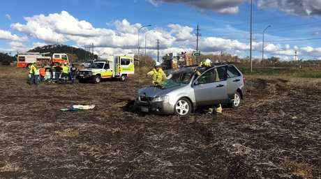 Emergency services at the scene of a two-vehicle crash at Aubigny.