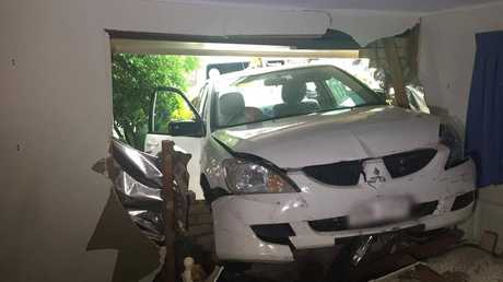 A man escaped without injury after his vehicle ploughed into a Mt Lofty home.