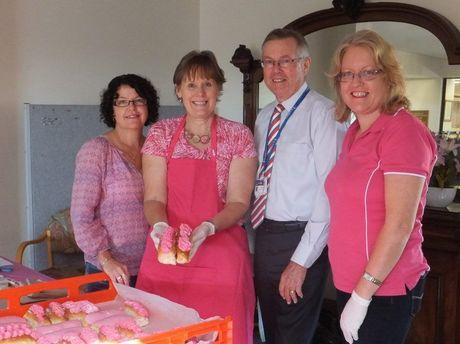 Carmel Ryan, Deb Pacholke, Ray Fairweather and Karen McVeigh at St Andrew's pink bun morning tea fundraiser.