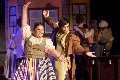 DOWNLANDS MUSICAL: Katelyn Redinger and Liam O'Hern playing the Thenardiers in the Downlands College production of Les Miserables.