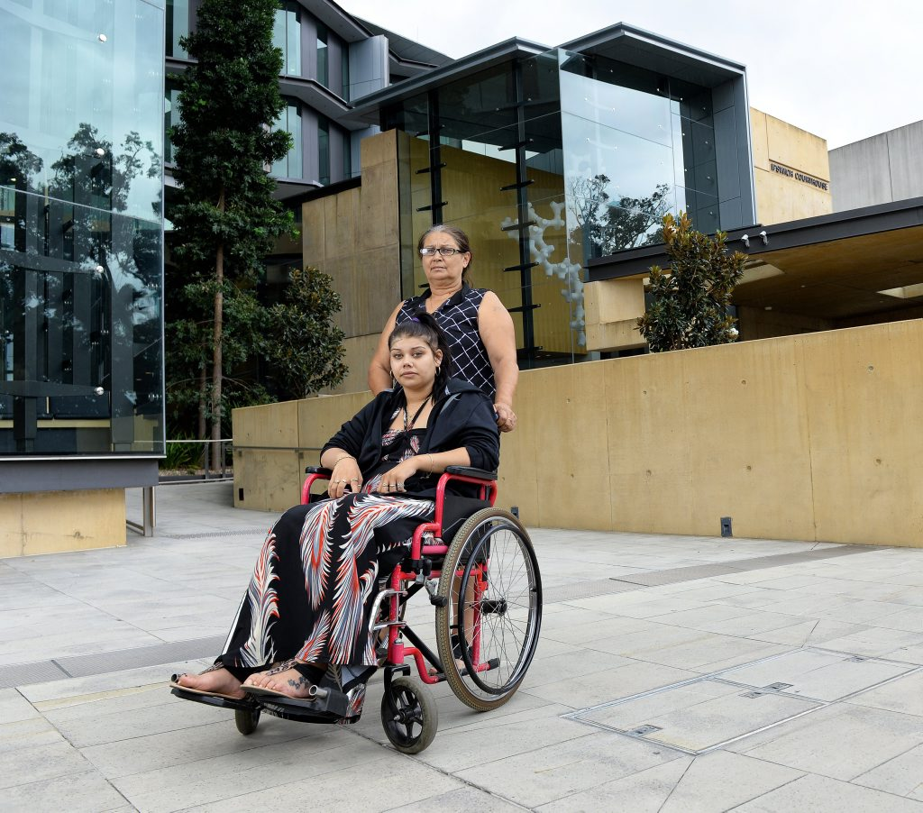 Samantha Green has been confined to a wheelchair since a car crash in January, 2015. Here she is outside Ipswich Courthouse with her mother Margaret Stroud.