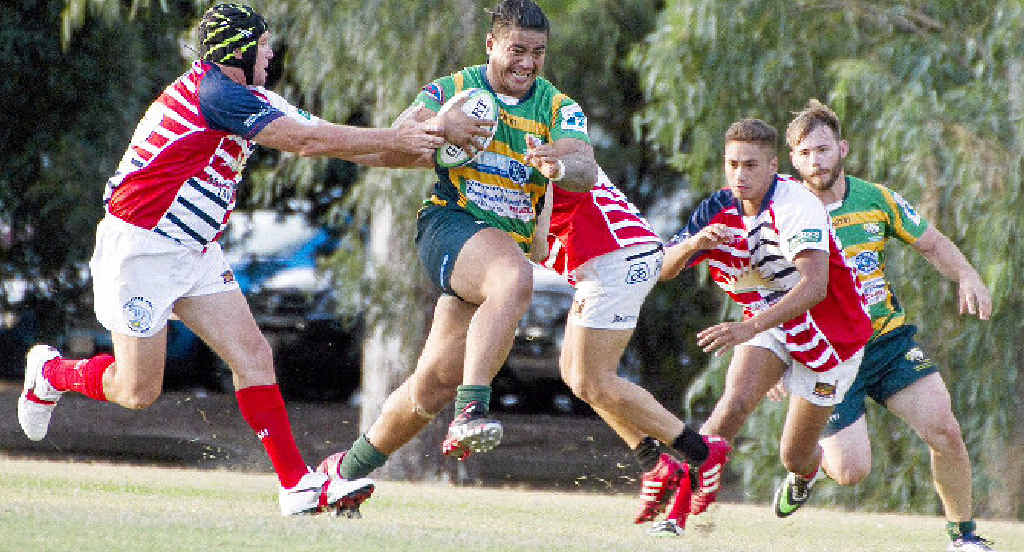 BREAK AWAY: The Emerald Rams ran away with the win against the Rolleston Roos.