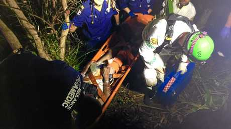 Emergency services rescue a 91 year old man who fell down a ditch while mowing his lawn.