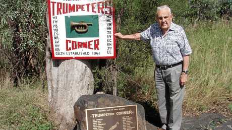 Former Chinchilla resident and trumpeter, Mr Wal Underwood at Trumpeters Corner in 2008. Mr Underwood lived to 100 years and was the last of the Trumpeters to pass away.