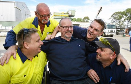Bruce O'Grady returned to his Wulkuraka workplace on Thursday to thank his workmates that saved his life after a workplace accident in January. (clockwise from left) Trent Court, Chris Aiken, Dale Ward and Scott Blackwell.