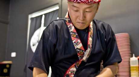 Chef  Khun Jung at the Sushi Asakusa Japanese restaurant. Friday 29 Apr , 2016.