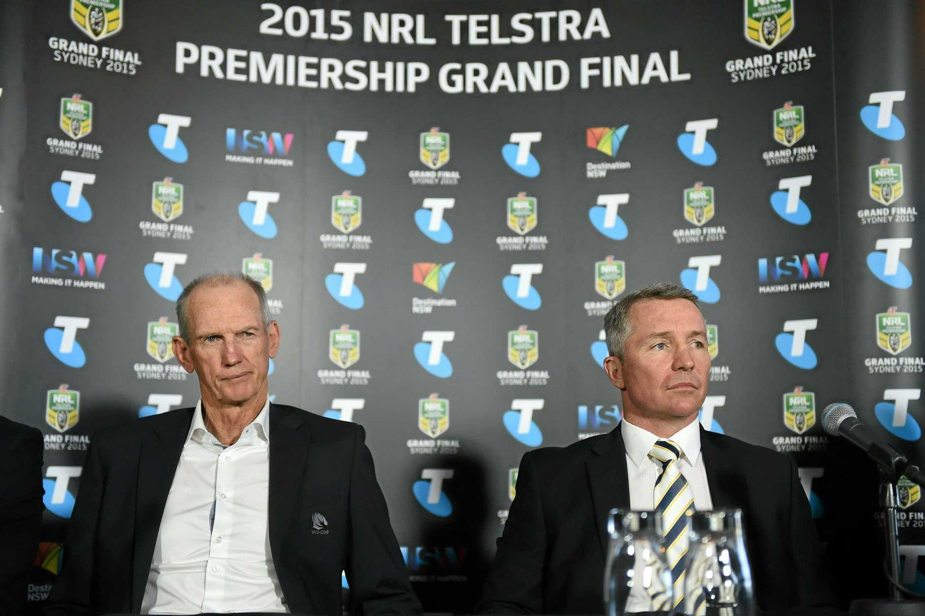 Brisbane Broncos coach Wayne Bennett and North Queensland Cowboys coach Paul Green during the 2015 NRL Grand Final press conference in Sydney.