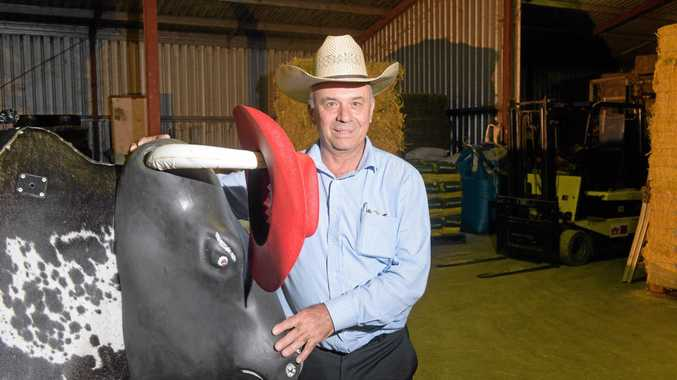 BULLHORN: Secretary manager of the South Grafton Ex-Servicemen's Club takes a look at the mechanical bull which will be in action the night before PBR.