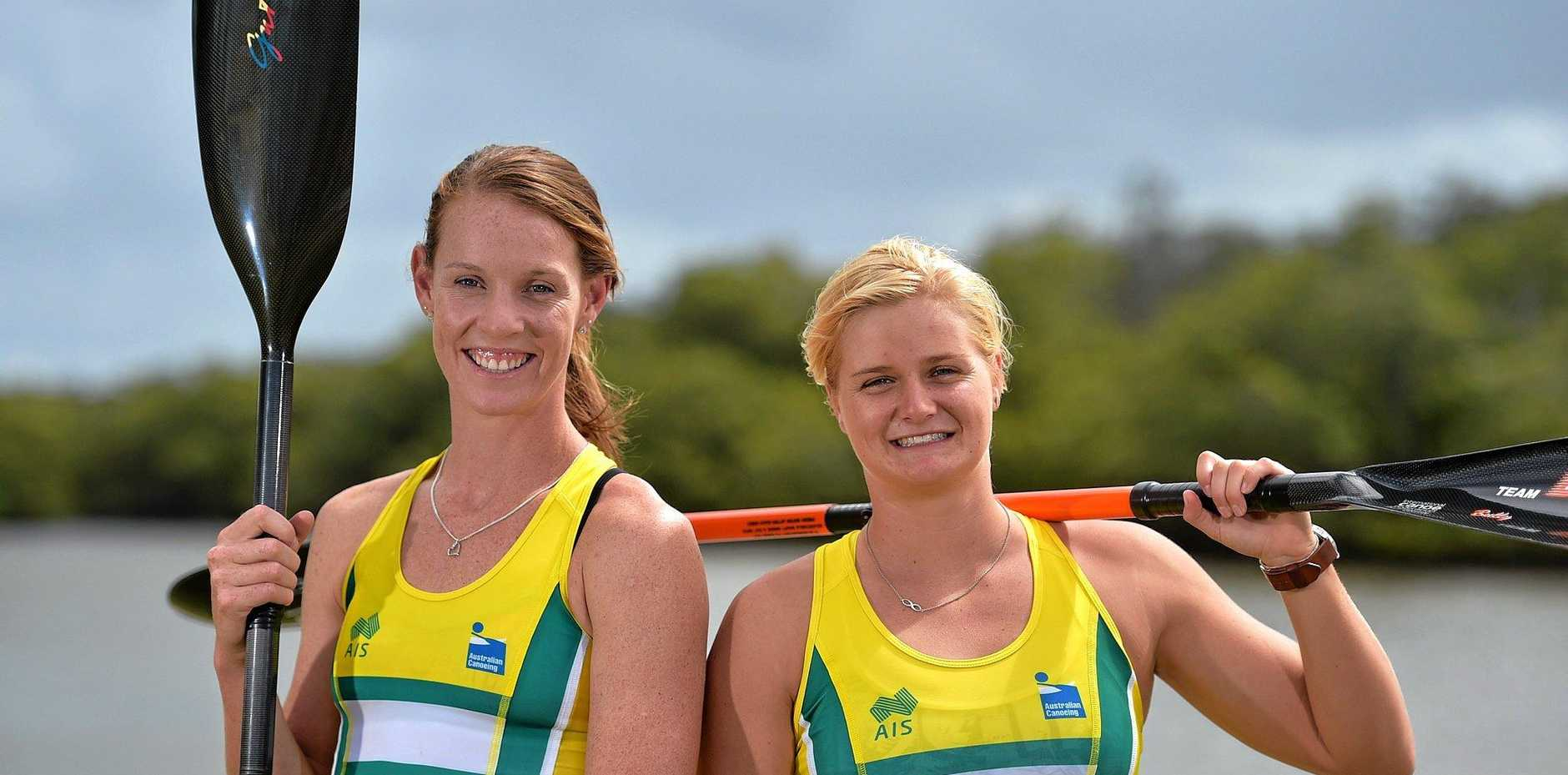 Alyce Burnett and Alyssa Bull are set for the Olympics as part of the kayak team. Photo: Warren Lynam / Sunshine Coast Daily