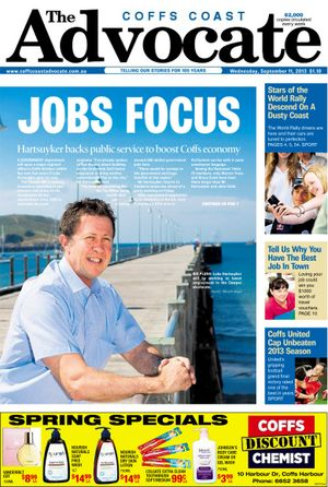 The fron page of the Coffs Coast Advocate on Wednesday, September 11 back in 2013 only days after Cowper MP was re-elected to the House of Representatives.