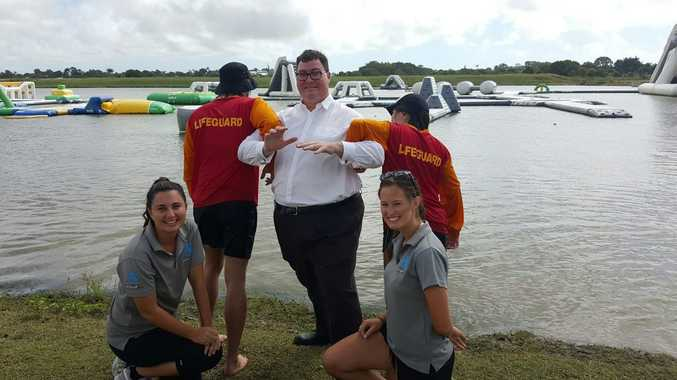 Aqua Fun Park Mackay manager Amanda Pelagalli, lifeguards Will Webley and Tess Search, and assistant manager Amy Paul use their powers of persuasion to get Dawson MP George Christensen involved in their quest to stay afloat.