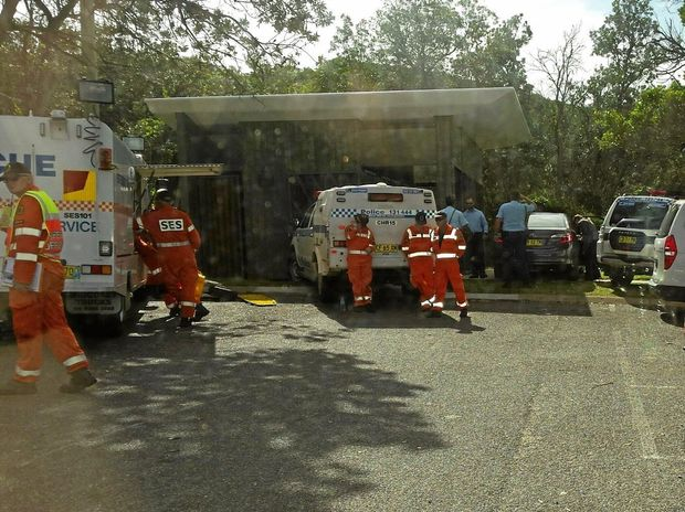 Authorities gather at the scene of the operation at Macauleys Headland.