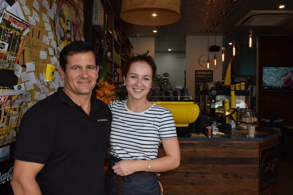 Its Say Espresso Bar's first birthday today and owner Brett McGuiness and his daughter. Photo Campbell Gellie / The Observer
