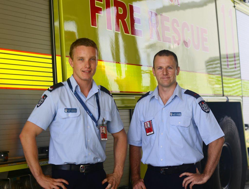 Leading Firefighters for Aviation Rescue firefighting Rockhampton Jean Hancock and Brad Byrnes Photo Trinette Stevens / Morning Bulletin