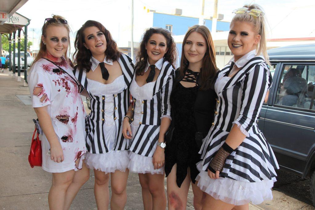 Mikala Marsden (left), Phoebe Clarke, Breeanna Blake, Felicity Francis and Kayci O'Rourke at the 2016 World's Greatest Pub Fest in Maryborough. Photo: Jocelyn Watts / Fraser Coast Chronicle