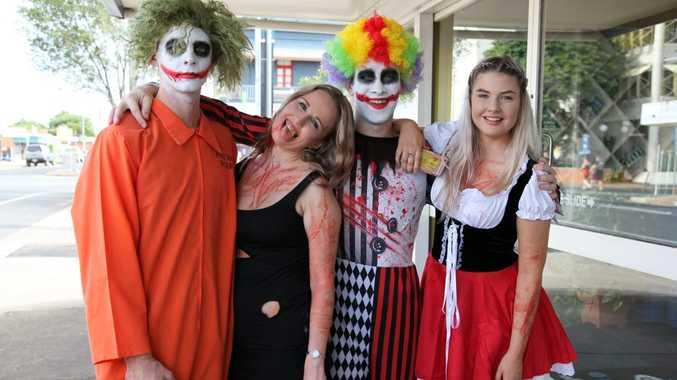 Shaun Mitchell, Kaitlyn Perkins, 'Lord' Jordan Dowden and Edon King at the 2016 World's Greatest Pub Fest in Maryborough. Photo: Jocelyn Watts / Fraser Coast Chronicle