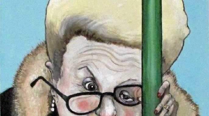 """The 2016 Bald Archy """"choppergate"""" portrait of former House of Reps Speaker Bronwyn Bishop."""