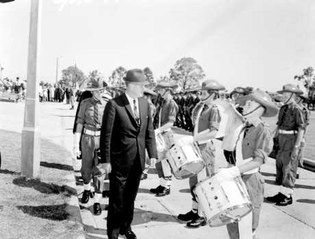 Deputy Premier and Minister for Education Mr Cutler inspects Casino High School at the grand opening in 1965. Photo  The Northern Star 15/10/1965