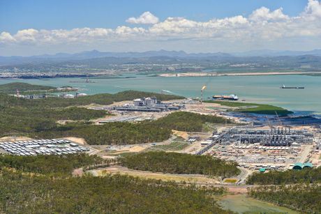Aerial shot of the LNG proponents on Curtis Island, QGC, APLNG, GLNG. Photo Mike Richards / The Observer