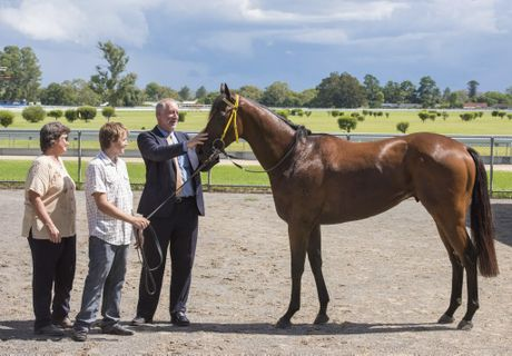 Trainer Cathy Chapman, apprentice Mitch Hayward and owner Michael Beattie with his winning horse from Race 1 my Boy Eagle. Photo Adam Hourigan / The Daily Examiner