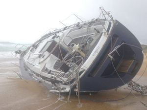 Abandoned yacht washes up at Wooli