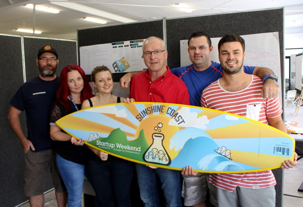 Sunshine Coast Mayor Mark Jamieson visits the Startup Weekend 2016 participants.