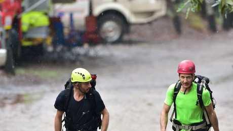 Backup rescue climbers heading towards the mountain.
