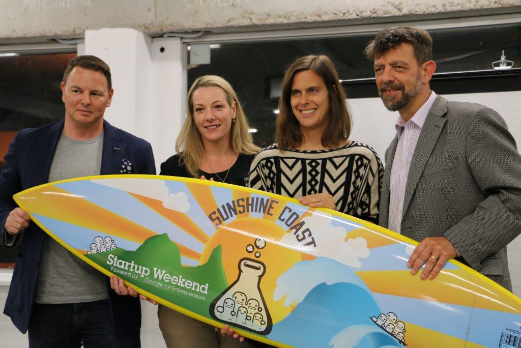 Startup Weekend judges: Zach Johnson, Natasha Kelso, Stephanie Moroz and Sander Kroes.