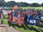 About a thousand workers marched in Mackay today