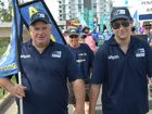 Michael and Joshua Curran taking part in the Rockhampton 2016 May Day March. Photo: Chris Ison / The Morning Bulletin