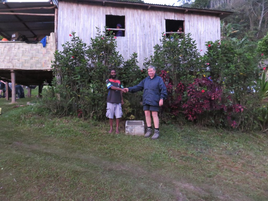 Village leader David Sega and Australian tour operator Frank Taylor agree to have the memorial in the village.