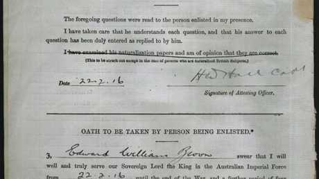 A snapshot of Edward William Brown's enlistment papers signed on February 22, 1916.