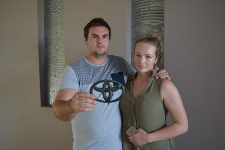 Minyama man Nathan Nicholson and his girlfriend Alex Poole used social media to try to recover Mr Nicholson's stolen ute.