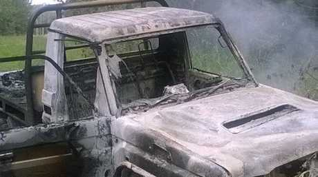 Minyama man Nathan Nicholson's Toyota LandCruiser ute was found burnt out after being stolen from a Warana work site.