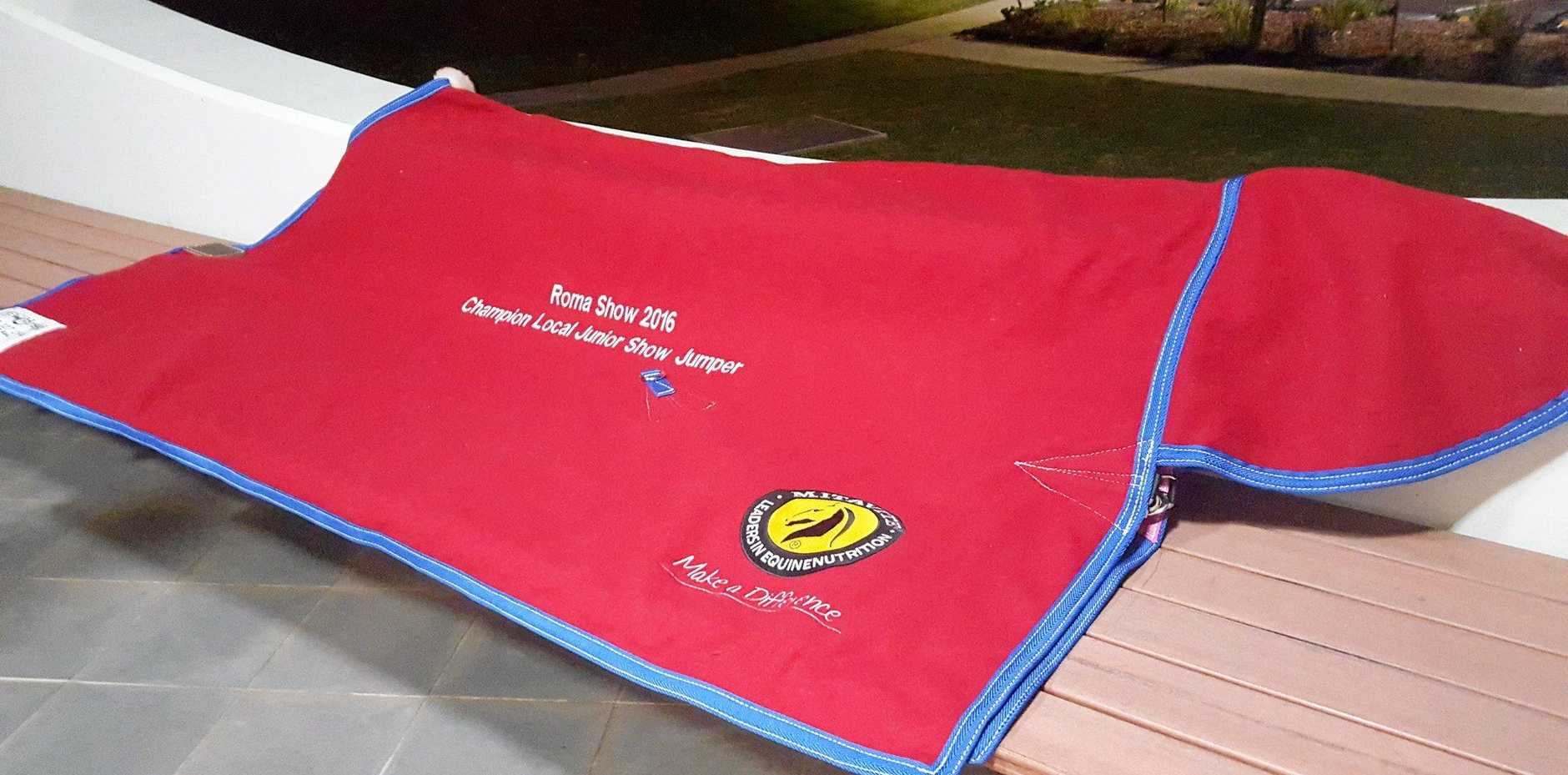 TOP PRIZE: The junior showjumpers at the Roma Show will be vying to win this specially hand-stitched blanket.
