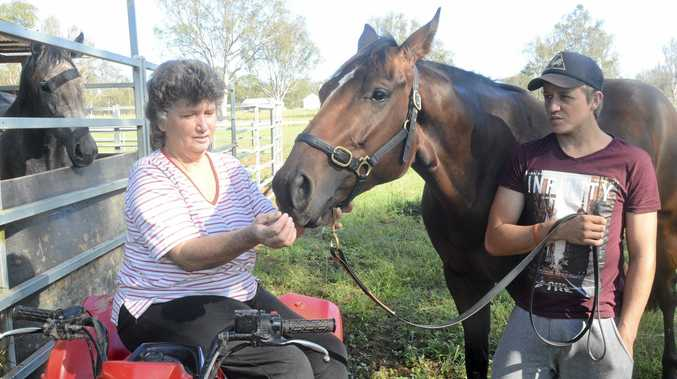 GETTING IT DONE: Southgate trainer Cathy Chapman, restricted to her quad bike with a broken leg, and her foreman Mitchell Hayward with stable favourite Tee Lexus.