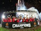 CHAMPIONS: Adelaide United celebrate after beating the Wanderers in the A-League grand final at Adelaide Oval.