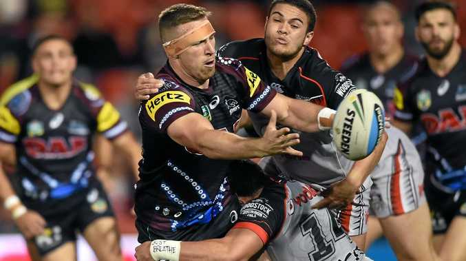 BIG FUTURE: Penrith's ball-playing forward Bryce Cartwright (centre) could play himself into the NSW team for Origin I