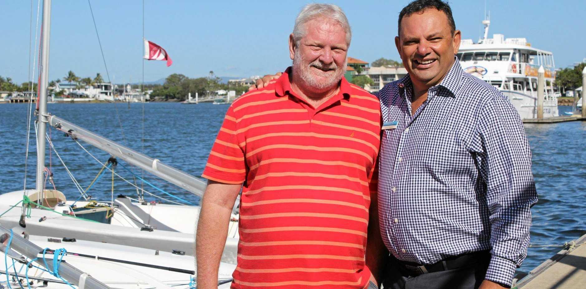 ANTICIPATION:  Bernie Sullivan and  Trevor Martin keenly await the June regatta.