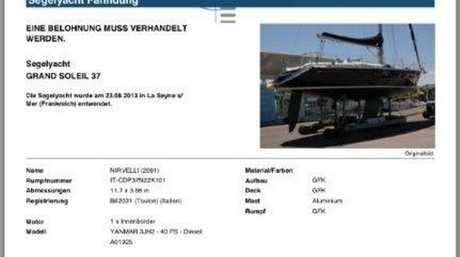 A report from a German insurance company listing as stolen a yacht matching the description of the vessel washed up at Wooli last week.