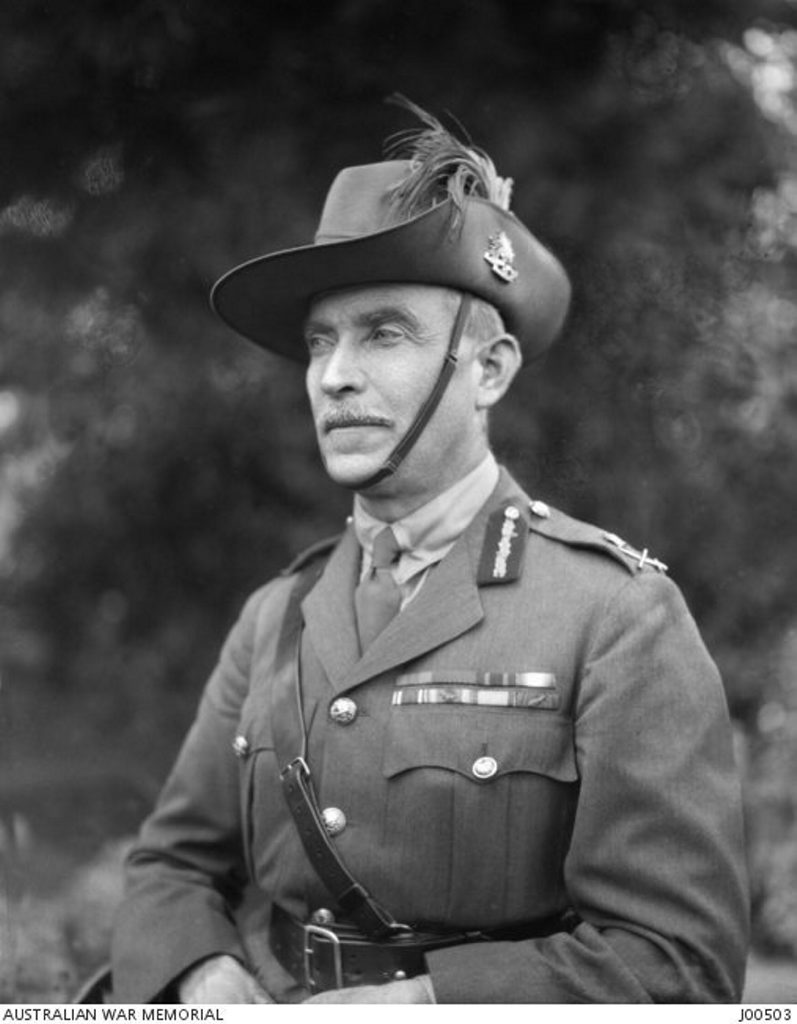 Portrait of General Sir Henry (Harry) George Chauvel GCMG KCB at Maribyrong camp during the Citizen Military Force (CMF) (Light Horse) camp held there in March 1923. Chauvel was a student at Toowoomba Grammar School before serving in the Boer War and The First World War.