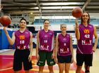 Rockets' Jordan Gregoryand Auryn Macmillan with Cyclones' Alice Kunek and Gabbi Clayton. Photo Allan Reinikka / The Morning Bulletin
