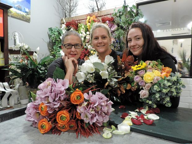 PERFECT POSY: Wisteria Blue owner Heather Pollock and Louise Ingram and India Pizzirani are preparing for Mother's Day.