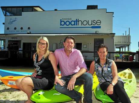 Manager of the Noosa Boathouse Phil Bradford is delighted that the future of the Noosa Food and Wine Festival is looking secure.(L-R) Sarah and Phil Bradford and Sheena O`Keefe. Photo Geoff Potter / Noosa News