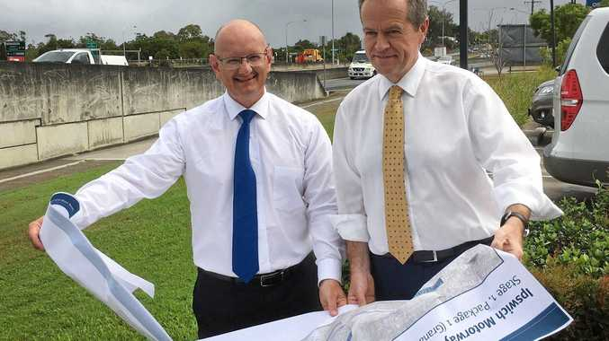 PROMISES: Federal opposition leader Bill Shorten and Blair MP Shayne Neumann announce a major upgrade to the Ipswich Motorway.