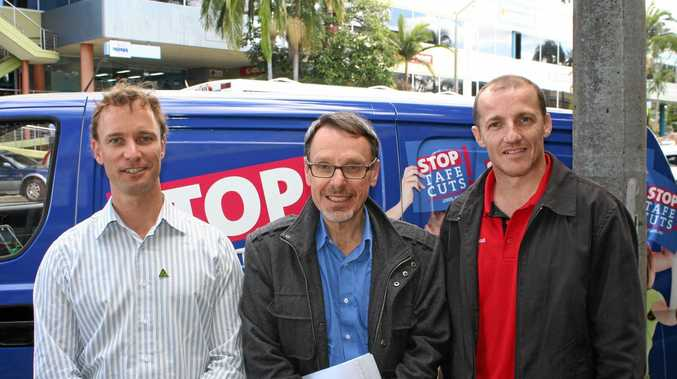 REMEMBERED: Greens MLC John Kaye (centre), at a protest about the state government's TAFE cuts in Lismore in 2014, flanked by then Labor candidate for Lismore Isaac Smith (right) and Greens candidate for Lismore Adam Guise (left).