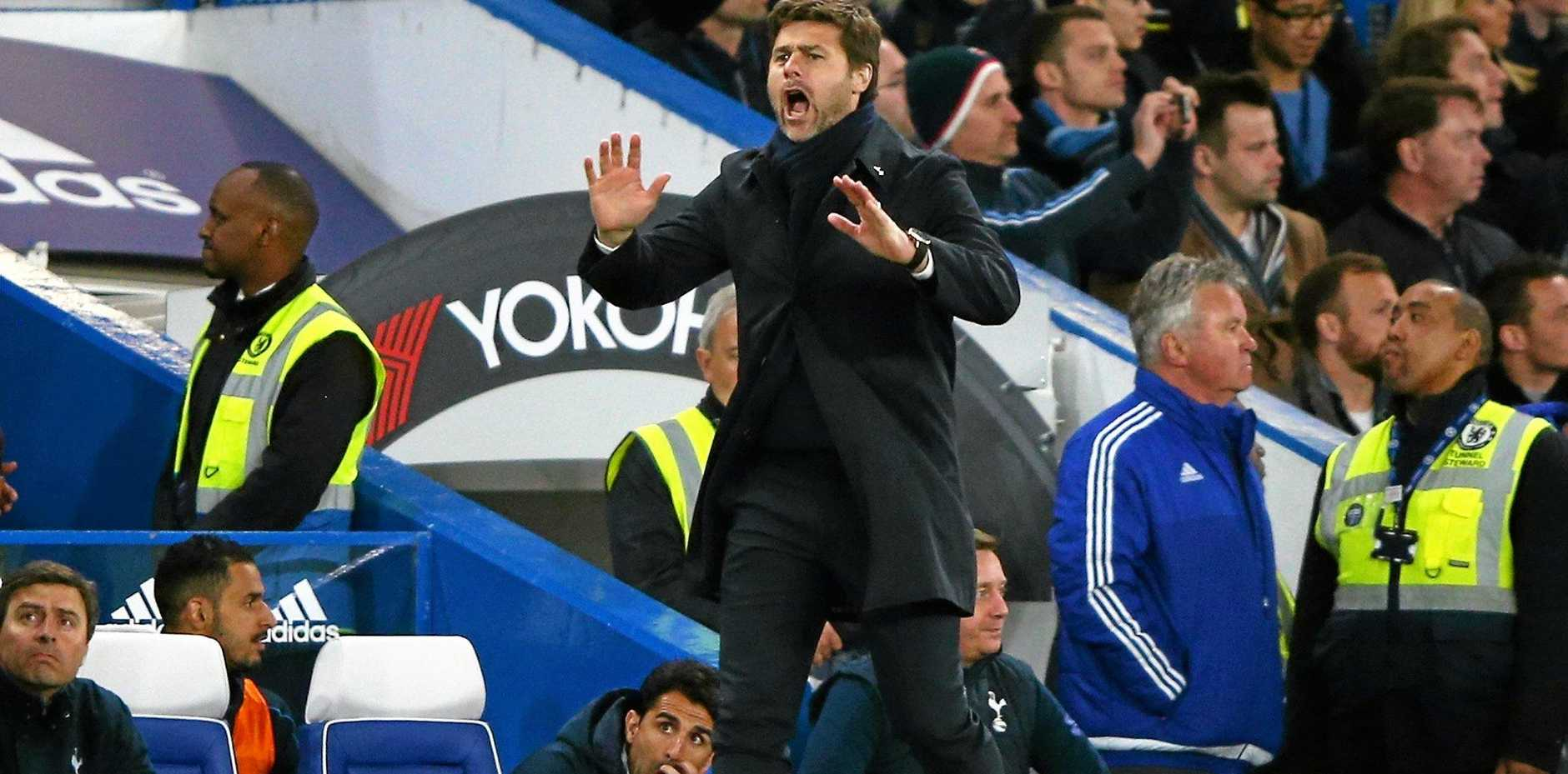 Tottenham manager Mauricio Pochettino urges his team on against Chelsea